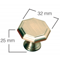 30 m.m. OCTAGON SATIN CHROME KNOB ‐ 4140‐078